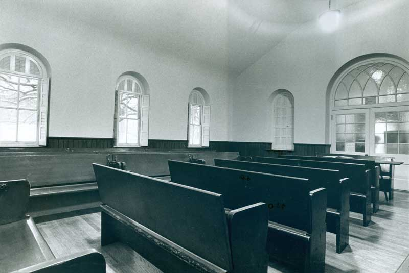 Germantown Meetinghouse interior with wooden pews