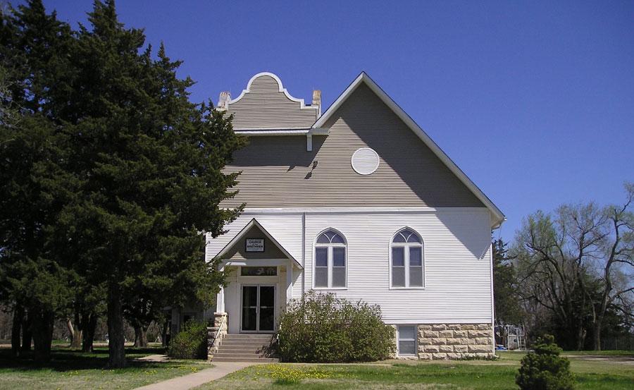 Church building and blue sky