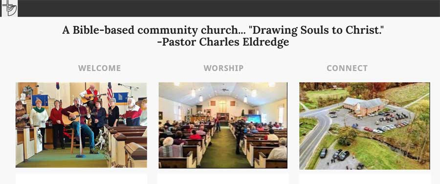 Photos of a church sanctuary, people singing, and a church building