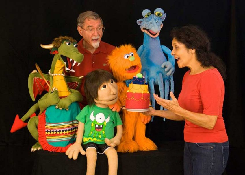 Dotti and Steve Seitz with puppets