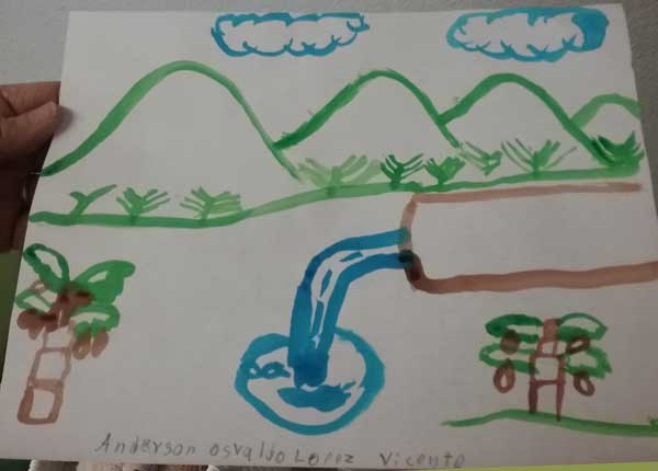 Child's drawing of mountains and a waterfall