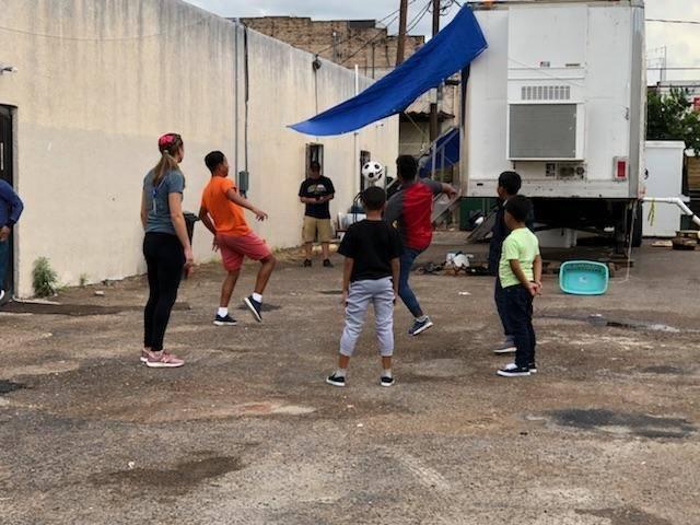Pickup soccer game on the border