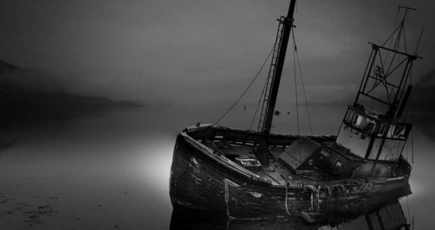 Black and white old ship