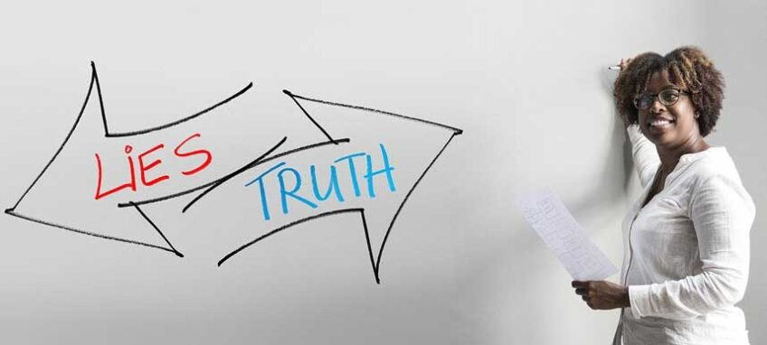 """Arrows that say """"Lies"""" and """"Truth"""" pointing in opposite directions"""