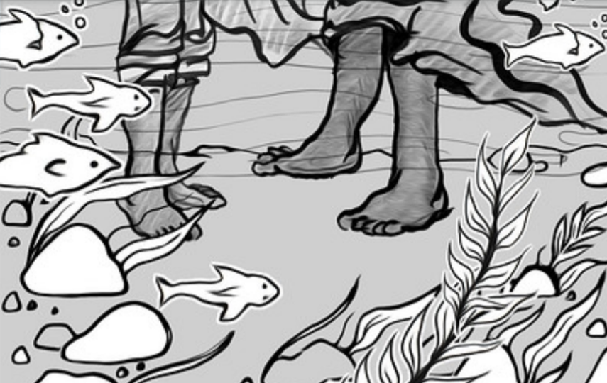 Drawing of feet underwater with plants and fish