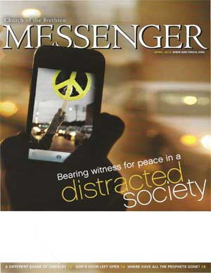 Cell phone with peace symbol