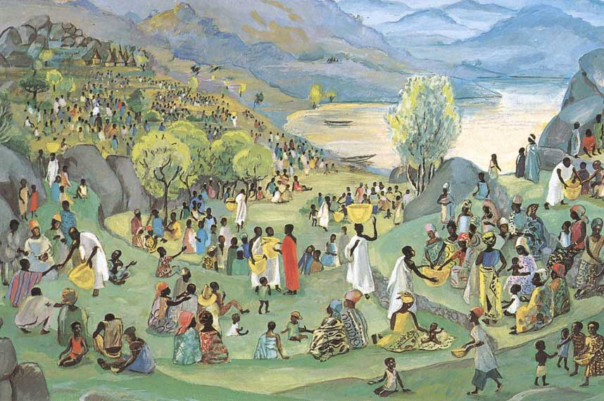 Jesus feeding the 5000; mountains in the background