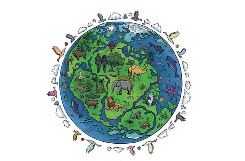 Drawing of globe with animals