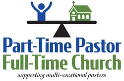 Part-Time Pastor, Full-Time Church logo showing person and church on a balancing scale