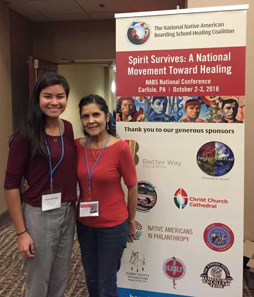 Monica McFadden and Dotti Seitz at the National Native American Boarding School Healing Coalition conference