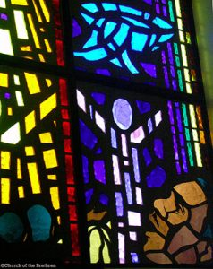 Stained glass image of Martin Luther King Jr.
