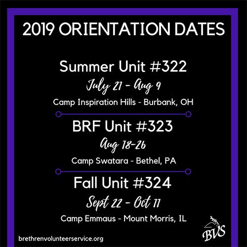 BVS orientation dates