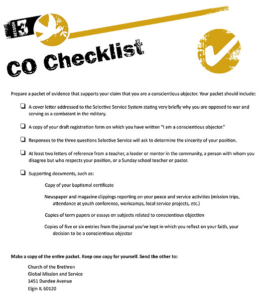 Conscientious objector checklist