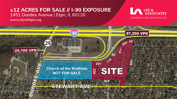 Realtor map of vacant land for sale in Elgin, Ill. by the Church of the Brethren