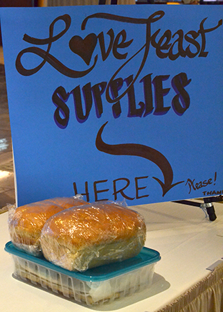 Collection point for love feast supplies