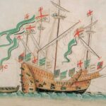 Colored drawing of an old ship with four masts