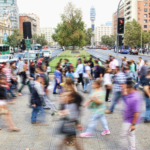 People walking on a busy city street